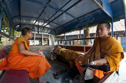 Monks in Tuk Tuk, Vientiane 