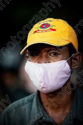 Man with Cap & Mask Cambodia 